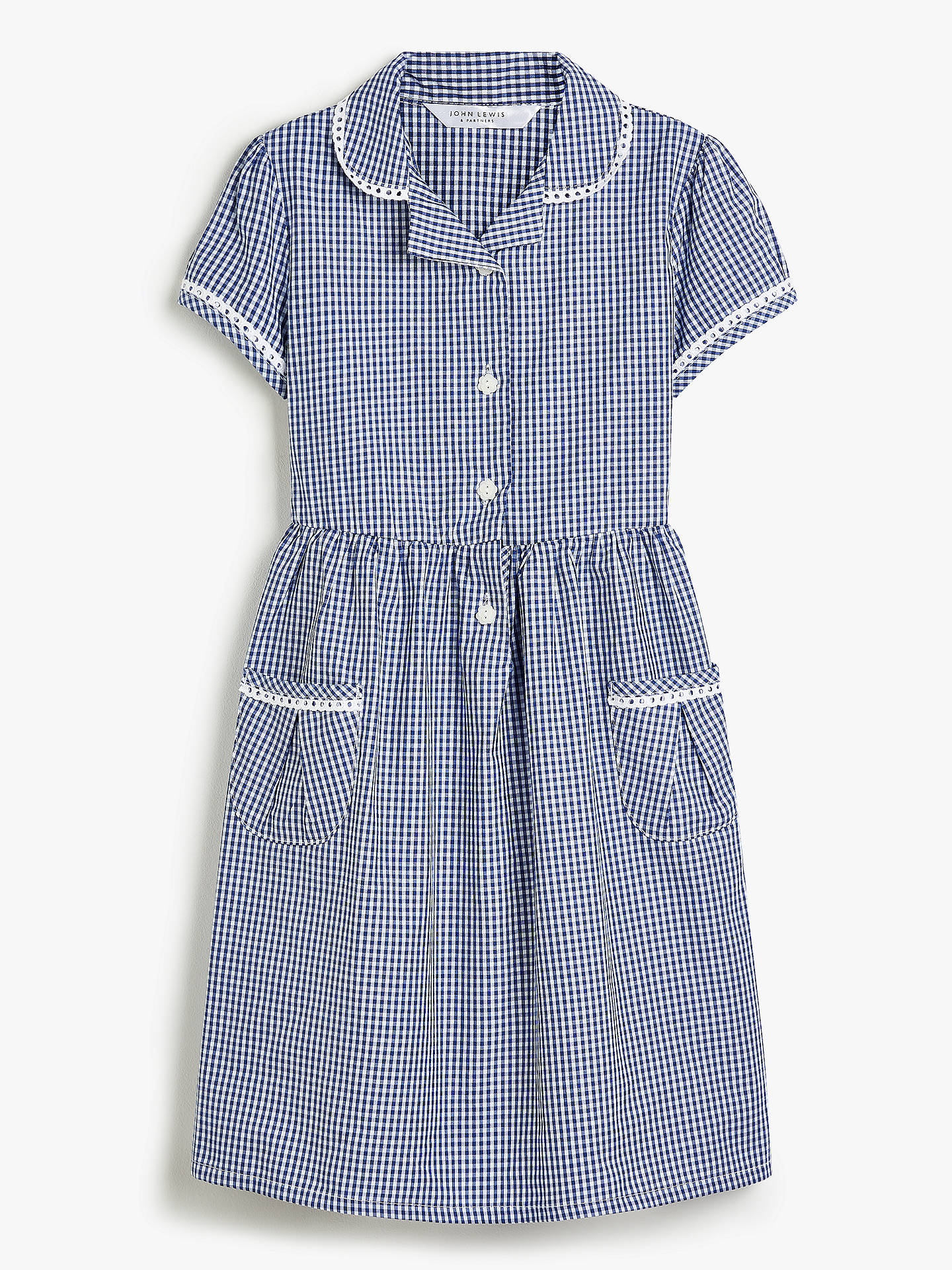 Buy John Lewis & Partners Gingham Cotton School Summer Dress, Navy, 4 years Online at johnlewis.com