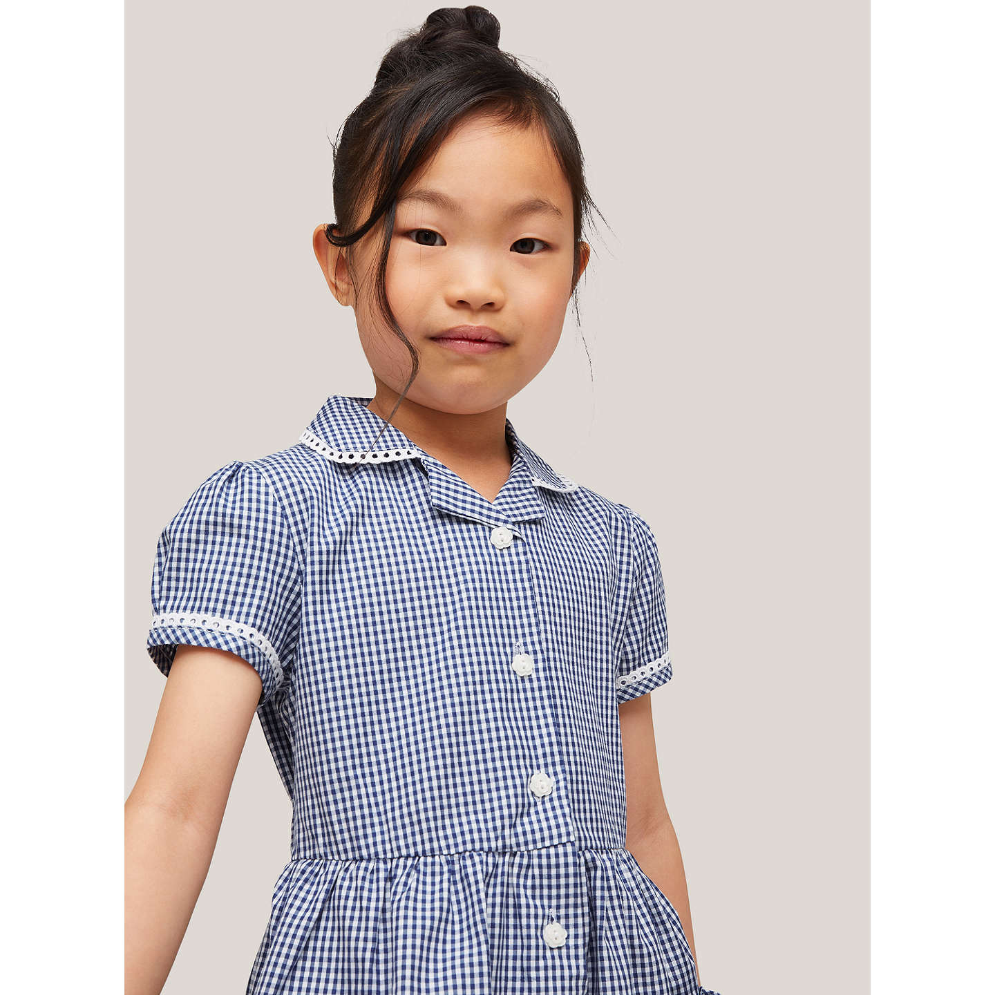 BuyJohn Lewis Gingham Cotton School Summer Dress, Navy, 4 years Online at johnlewis.com