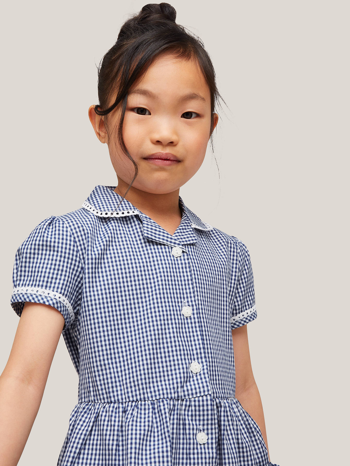 BuyJohn Lewis & Partners Gingham Cotton School Summer Dress, Navy, 4 years Online at johnlewis.com