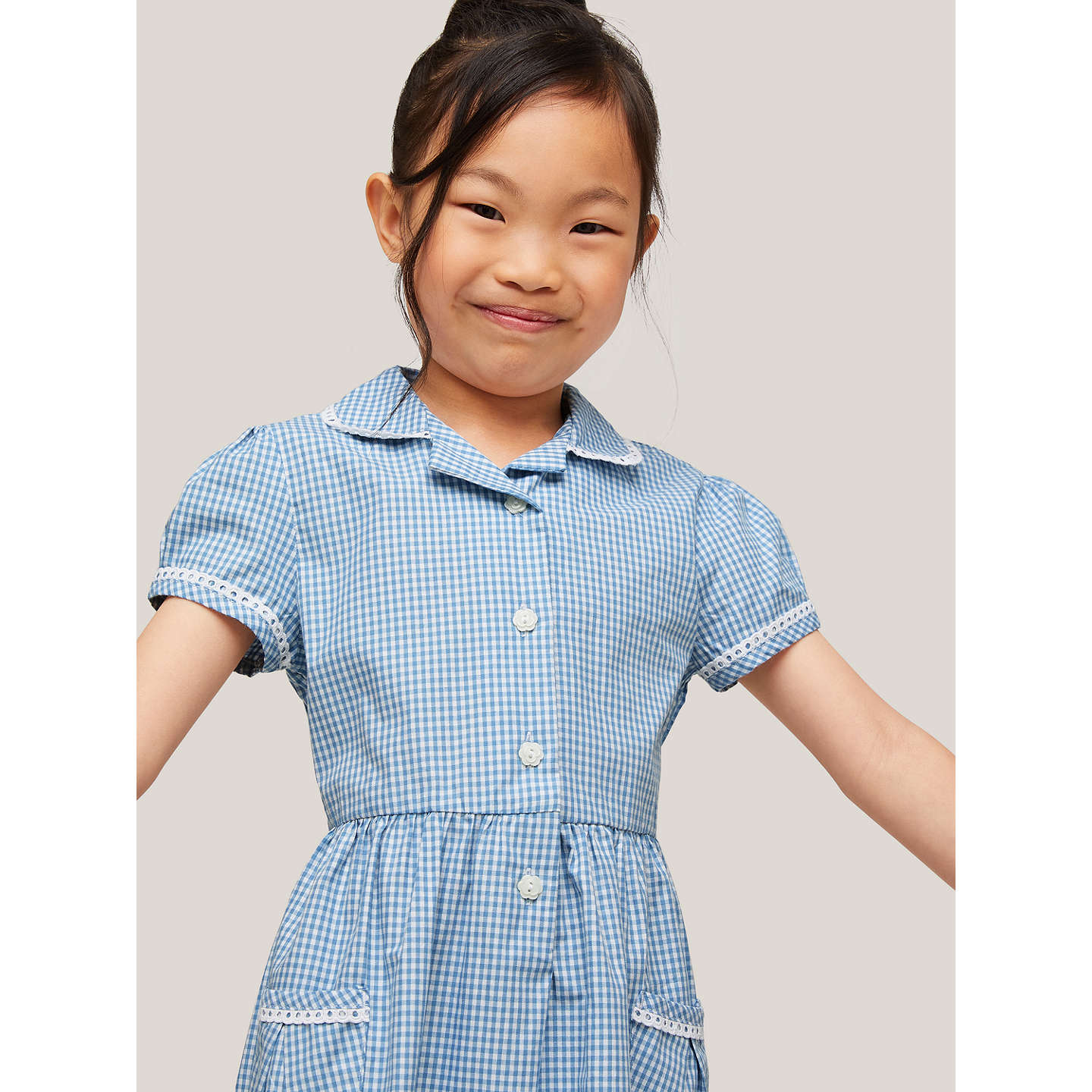 BuyJohn Lewis Gingham Cotton School Summer Dress, Blue, 4 years Online at johnlewis.com
