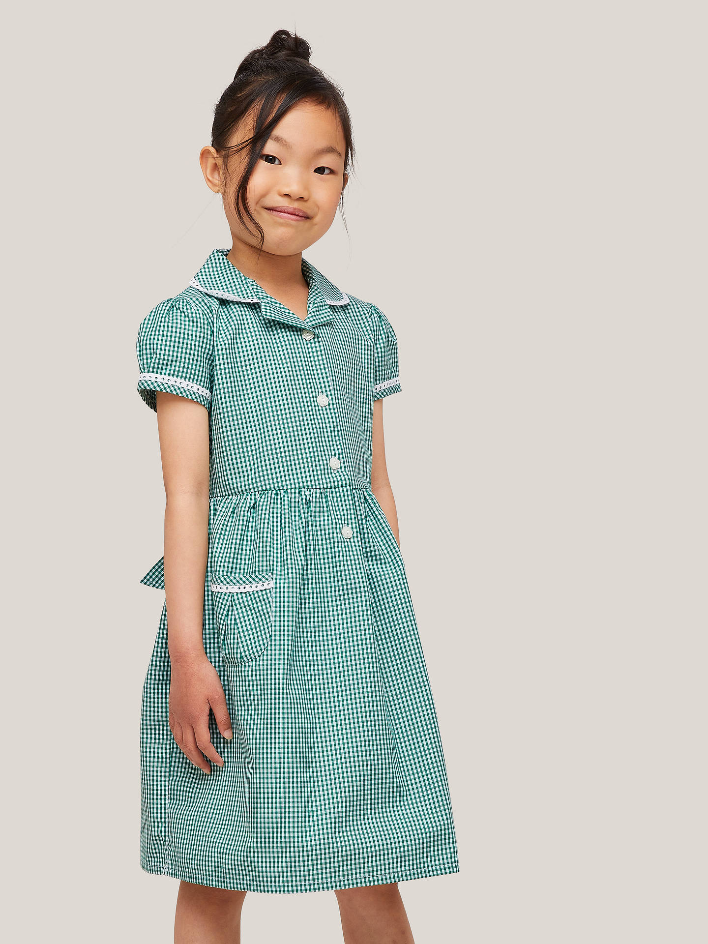 Buy John Lewis & Partners Gingham Cotton School Summer Dress, Green, 6 years Online at johnlewis.com