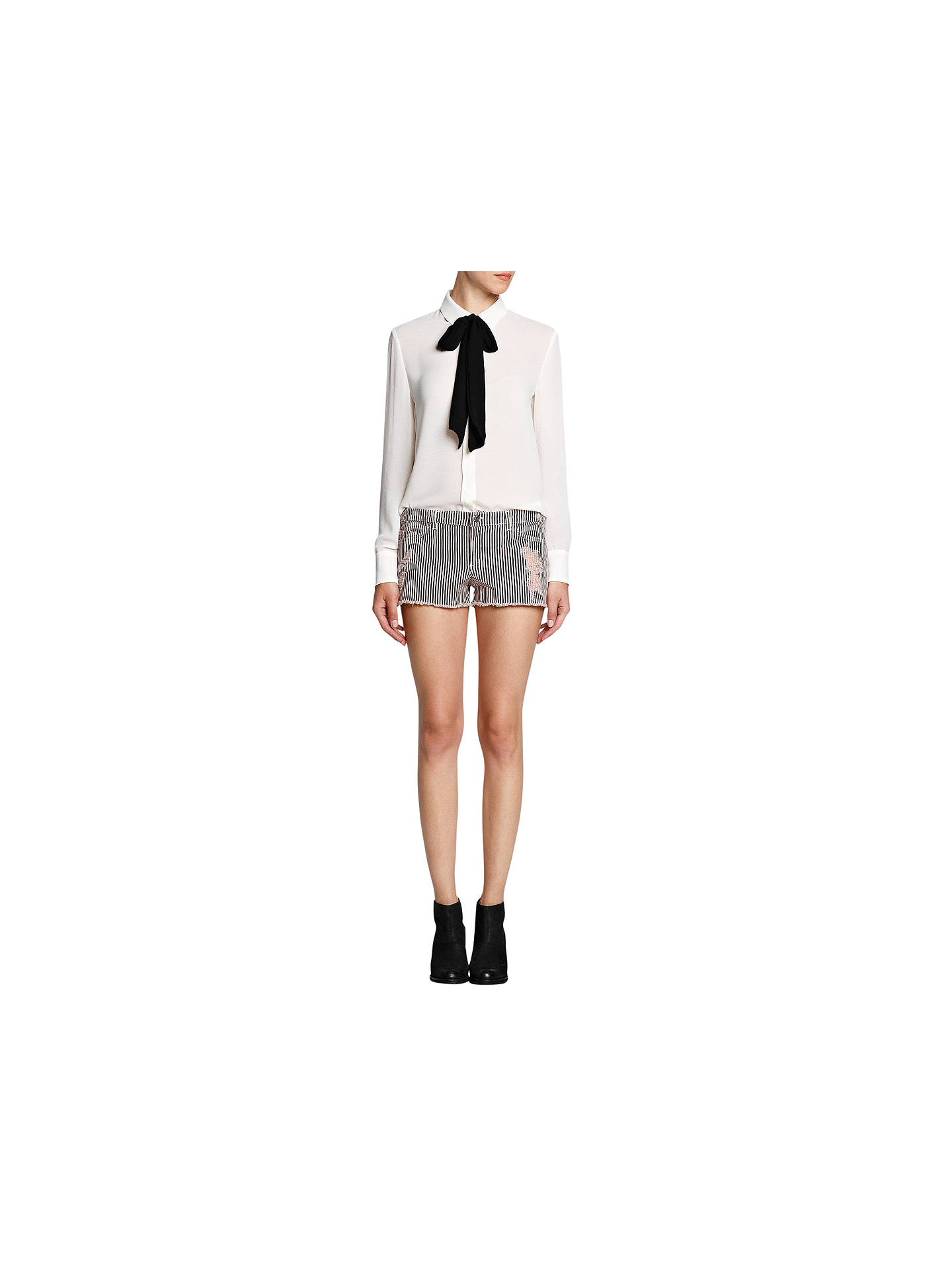 Buy Mango Contrasting Bow Blouse, Natural White, 8 Online at johnlewis.com