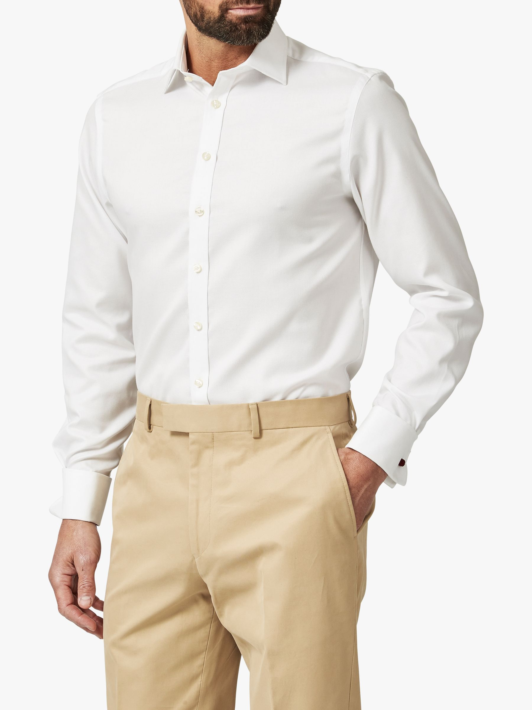 Chester by Chester Barrie Chester by Chester Barrie Oxford Tailored Long Sleeve Shirt, White