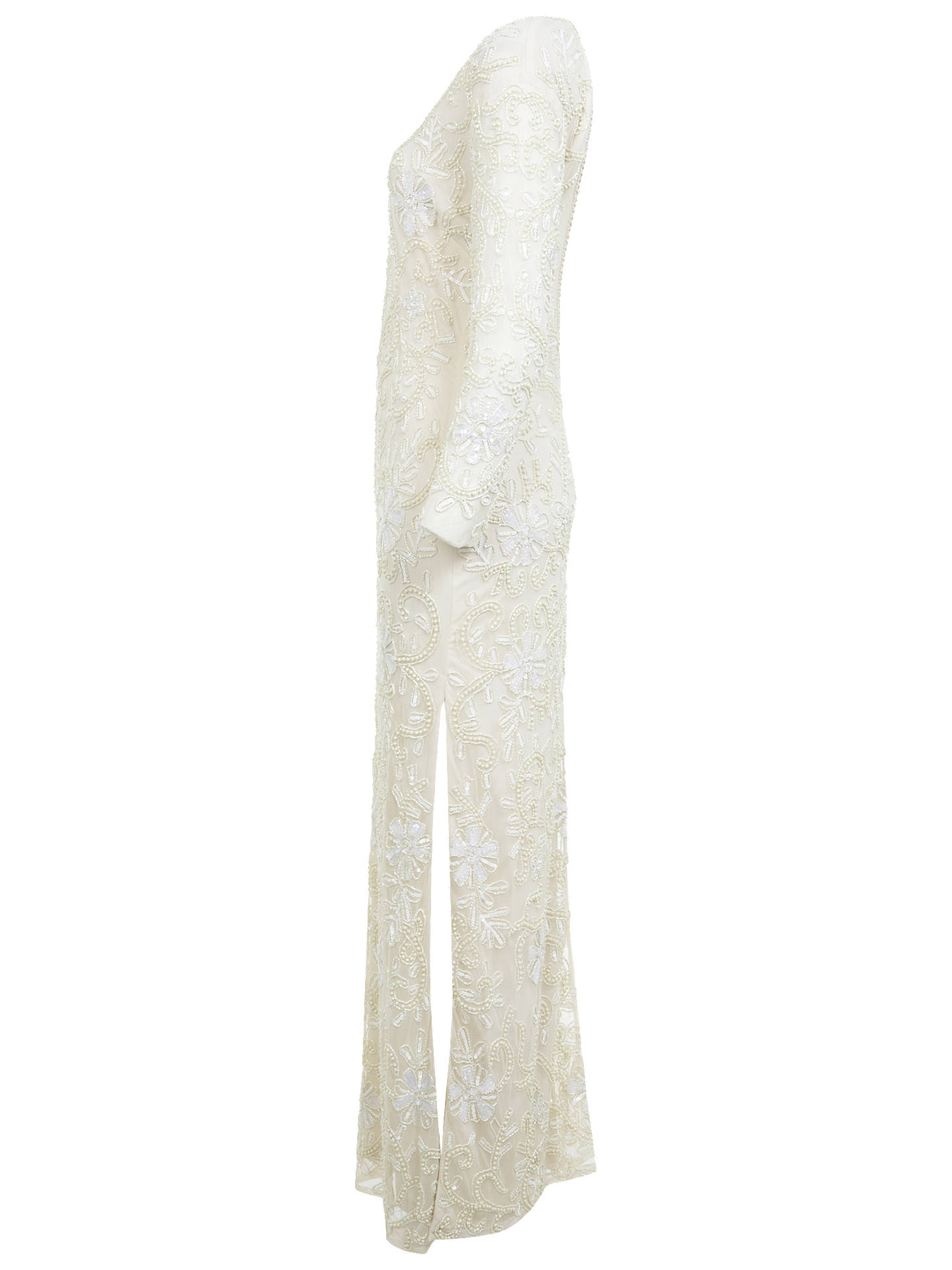 Buy Miss Selfridge Embellished Maxi Dress, Cream, 6 Online at johnlewis.com