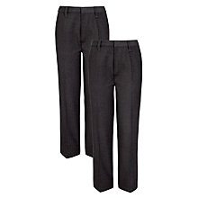 Buy John Lewis The Basics Adjustable Waist Boys' School Trousers, Pack of 2, Grey Online at johnlewis.com