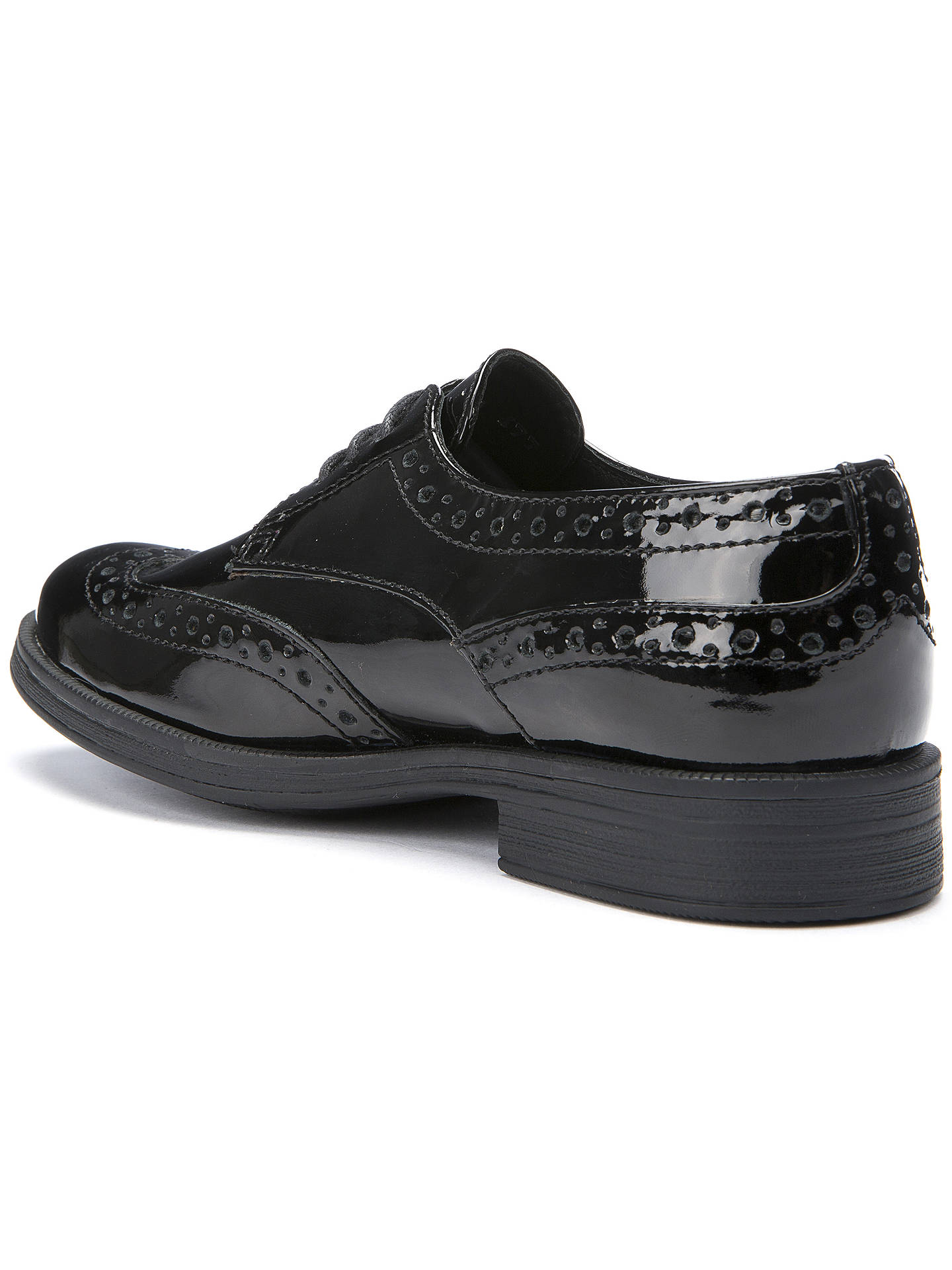 BuyGeox Lace-Up Brogue, Patent Black, 30 Online at johnlewis.com