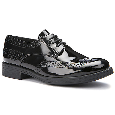 Buy Geox Lace-Up Brogue, Patent Black Online at johnlewis.com