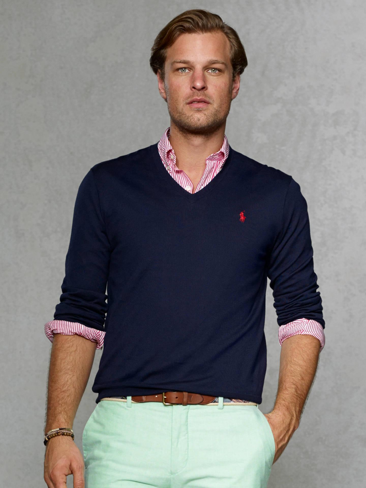 6c909dfd Buy Polo Ralph Lauren Pima Cotton V-Neck Jumper, Hunter Navy, M Online ...