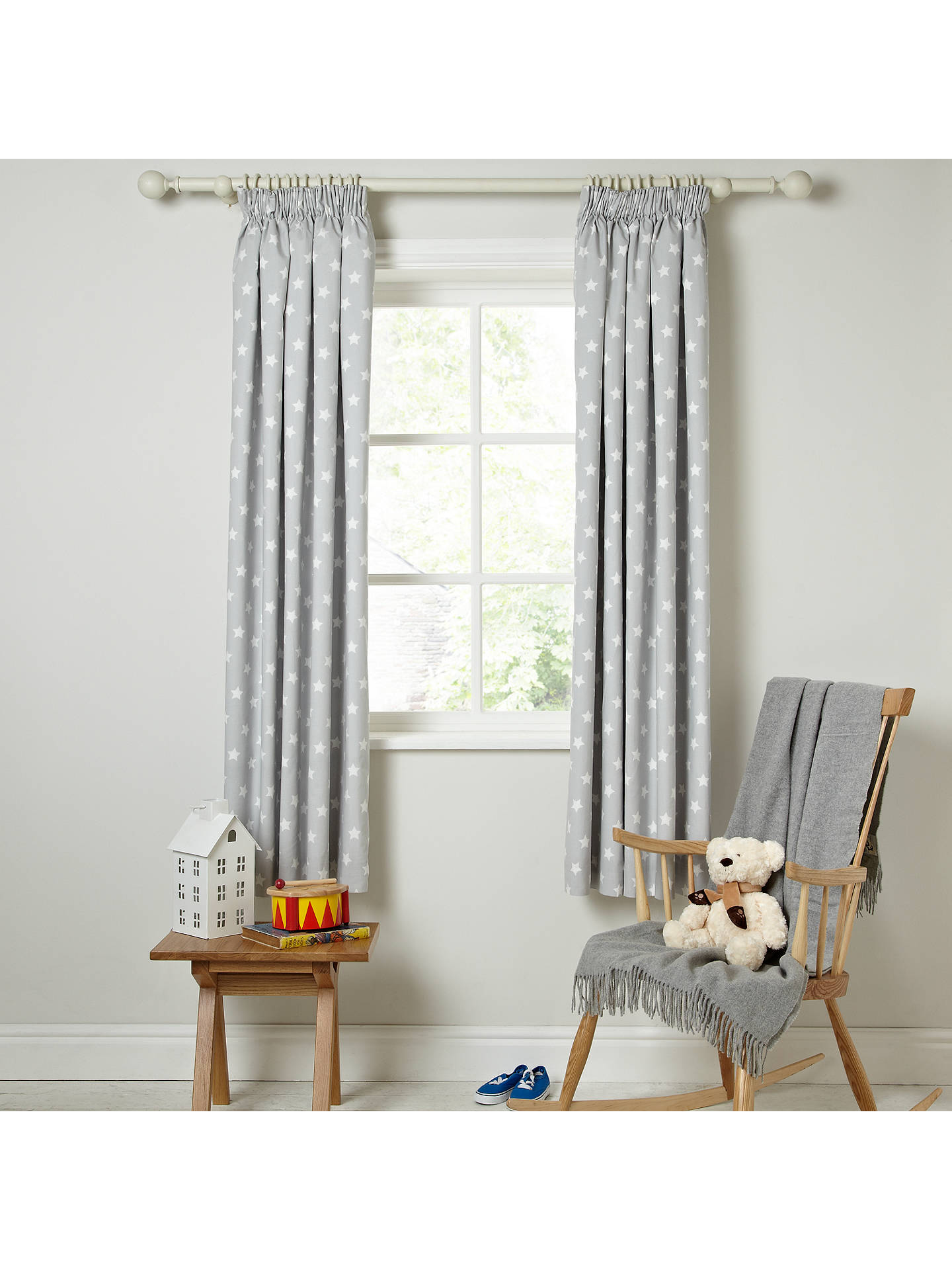 Buylittle Home At John Lewis Star Pencil Pleat Pair Blackout Lined Curtains W165 X Drop