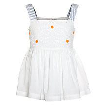 Buy John Lewis Girl Broderie Cotton Strap Top, White Online at johnlewis.com