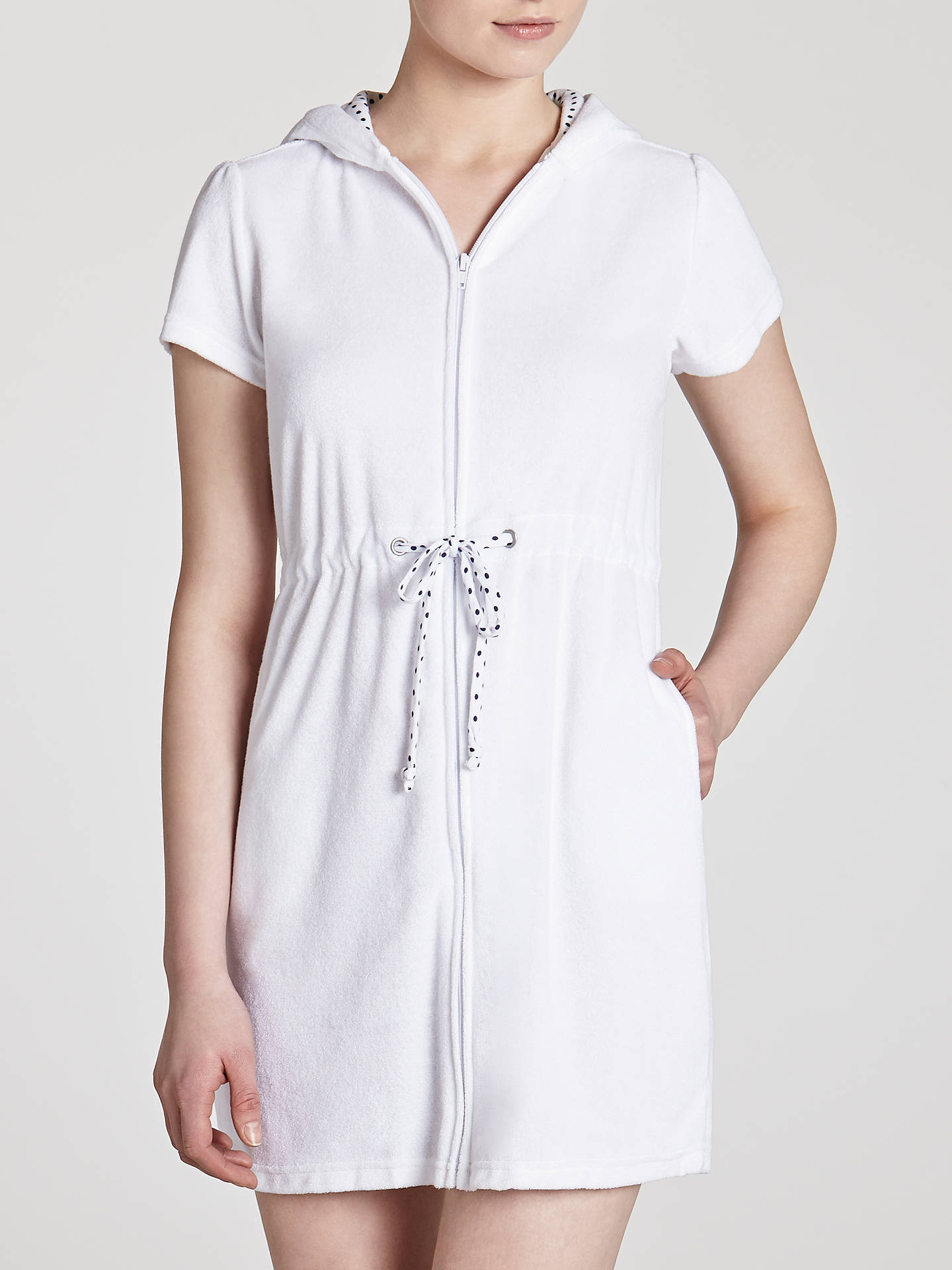 fd6b5dd7fd Buy John Lewis Zip Toweling Cover Up Dress, White, S Online at johnlewis.