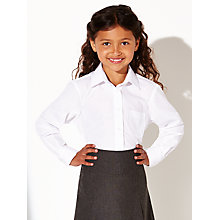 Buy John Lewis The Basics Girls' School Blouse, Pack of 2, White Online at johnlewis.com