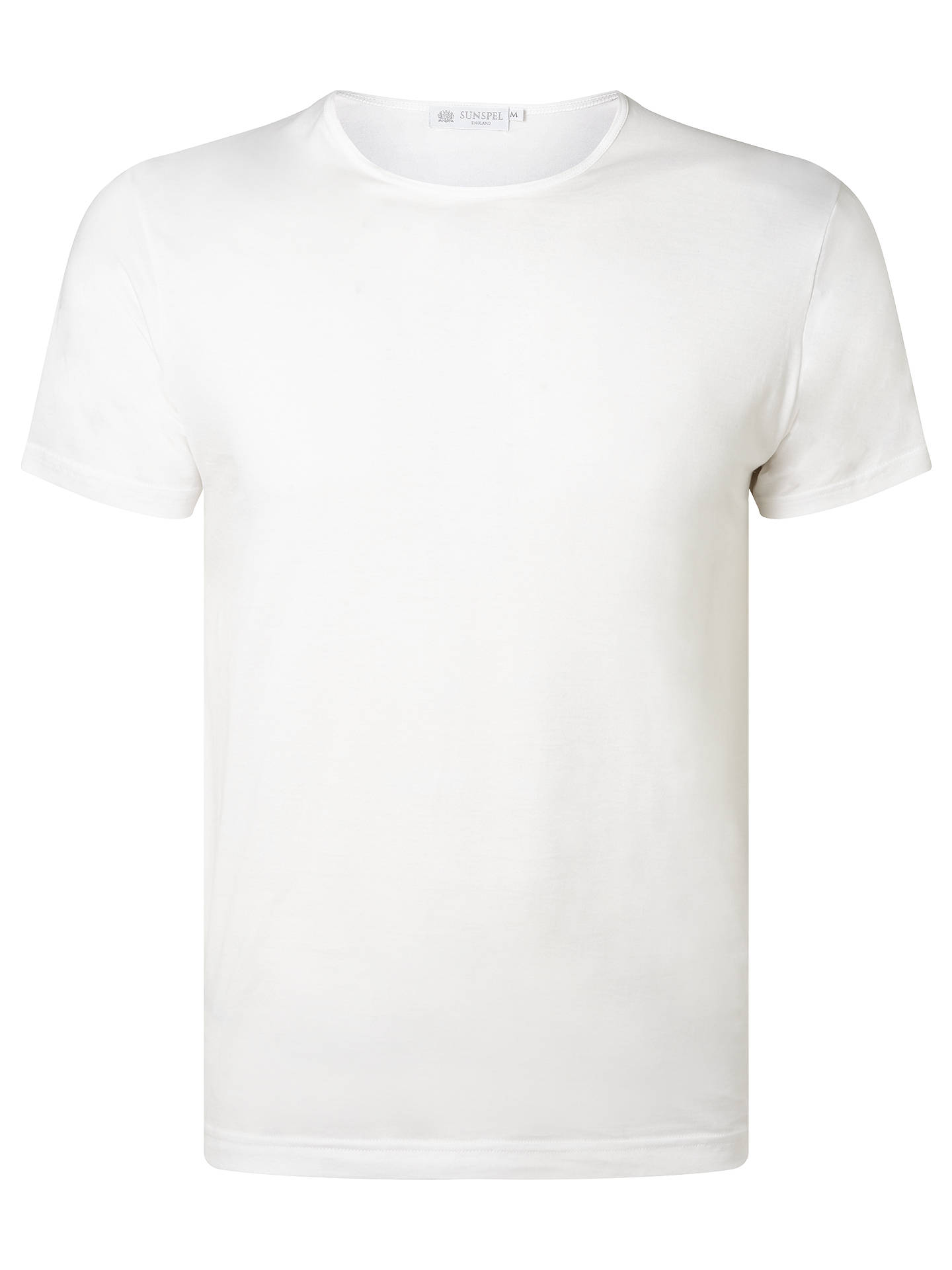 BuySunspel Short Sleeve Underwear Crew Neck T-Shirt, White, M Online at johnlewis.com