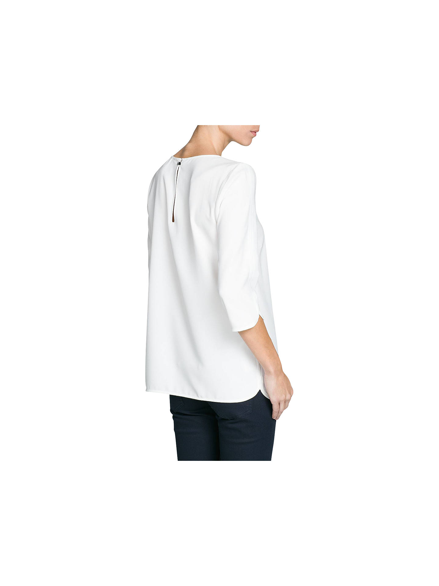 Buy Mango Puffed Sleeve Crepe Blouse, Natural White, 6 Online at johnlewis.com