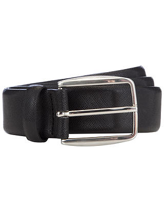 Buy John Lewis & Partners Made in Italy Textured Leather Belt, Black, S Online at johnlewis.com