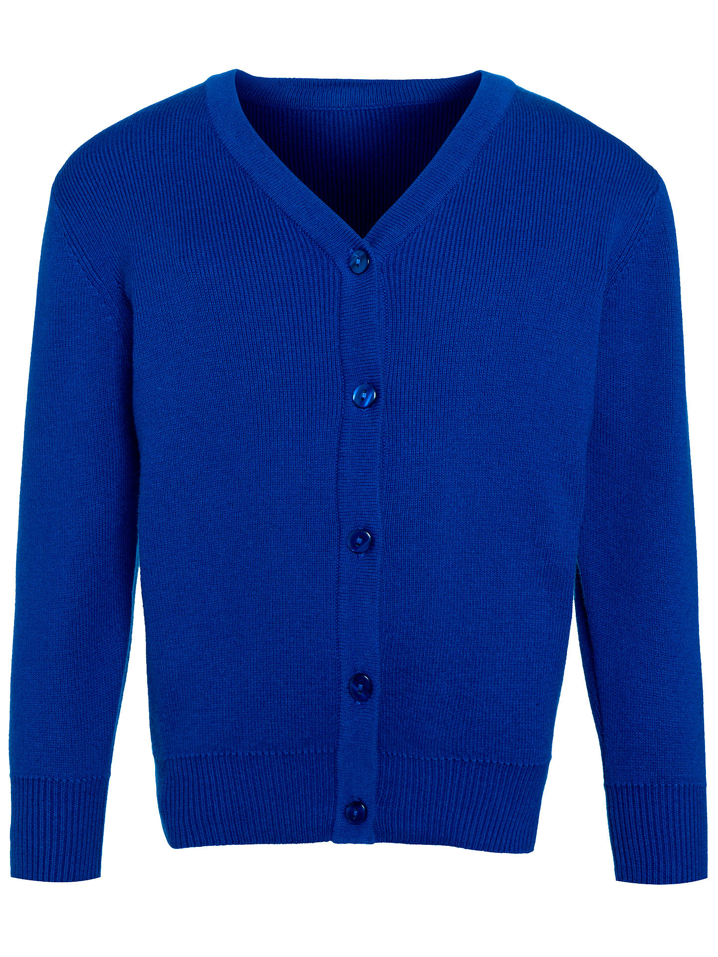BuyJohn Lewis & Partners School 100% Pure Cotton V-Neck Cardigan, Royal Blue, 15-16 years Online at johnlewis.com