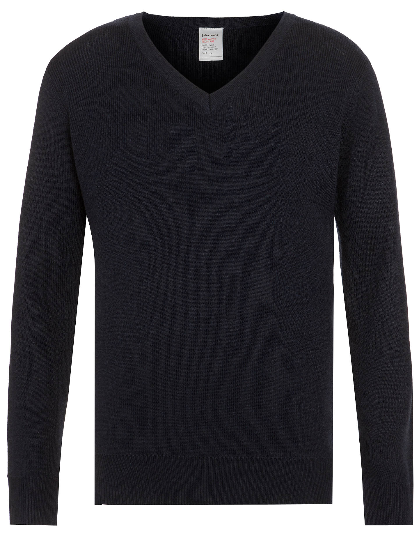 Buy John Lewis & Partners Wool Mix V-Neck School Jumper, Navy, 9-10 years Online at johnlewis.com