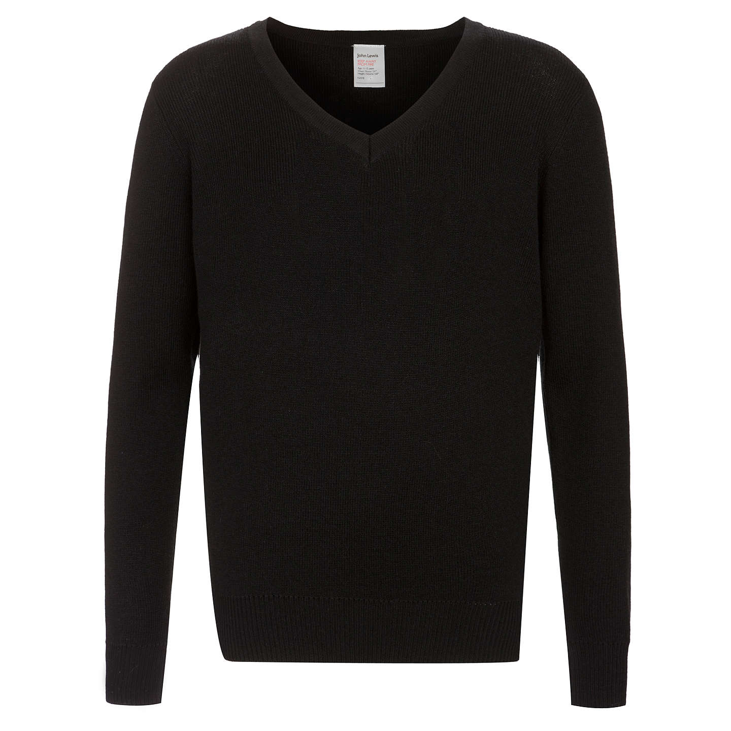 BuyJohn Lewis Wool Mix V-Neck School Jumper, Black, 9 years Online at ...