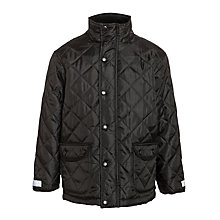 Buy Result Children's School Showerproof Quilted Coat, Black Online at johnlewis.com