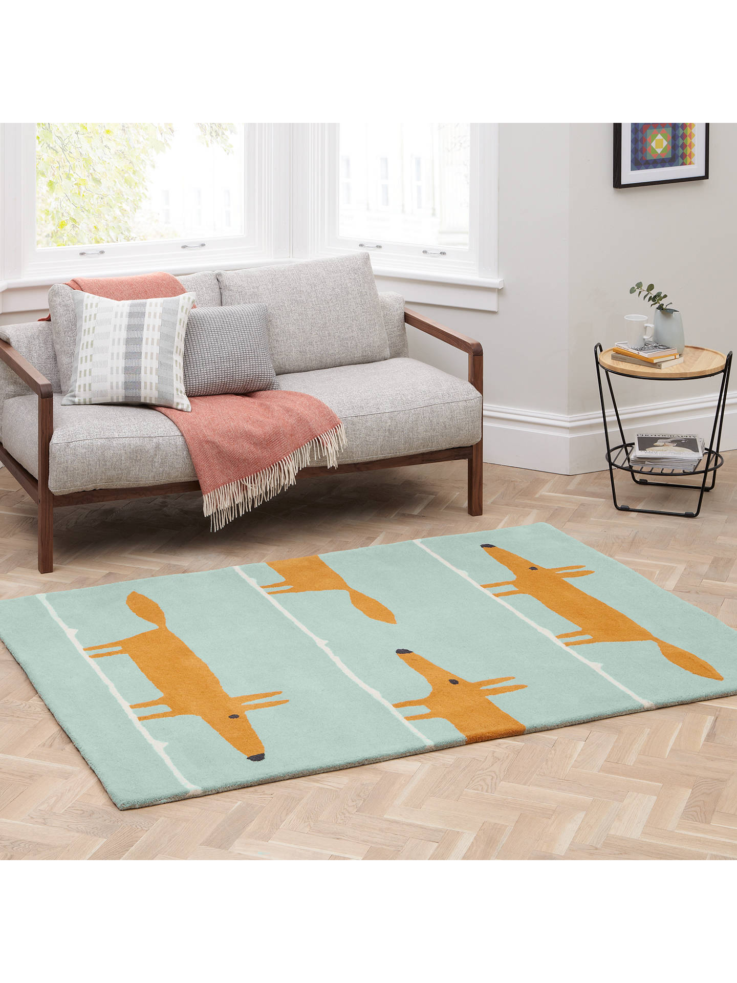 BuyScion Mr Fox Rug, Aqua, L150 x W90cm Online at johnlewis.com
