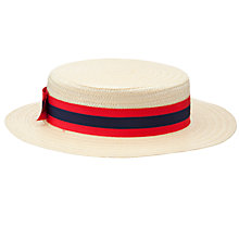 Buy Alpha Prep School Boater, Cream/Multi Online at johnlewis.com