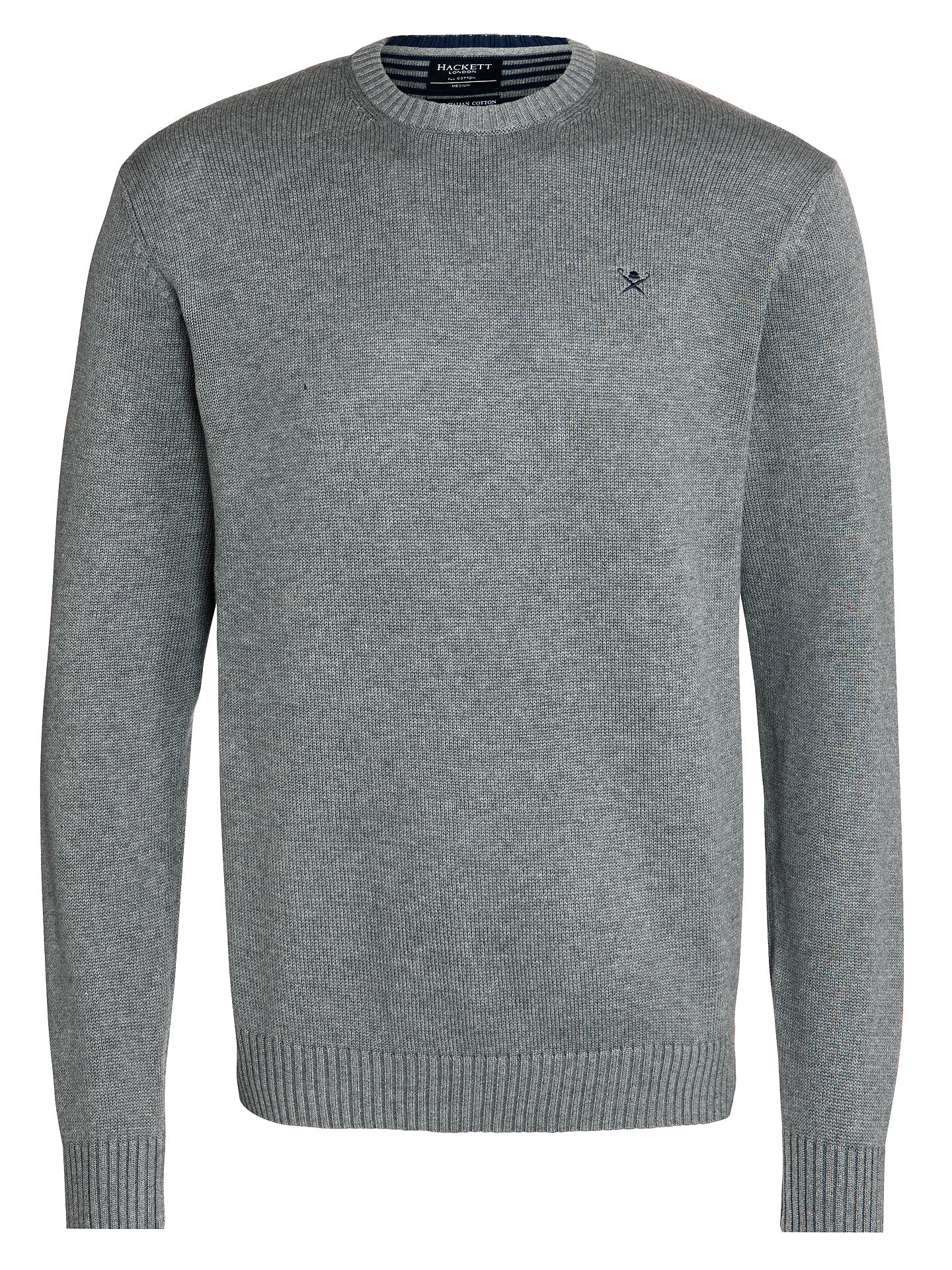 479c099d036502 Buy Hackett Cotton Crew Neck Jumper, Grey, S Online at johnlewis.com ...
