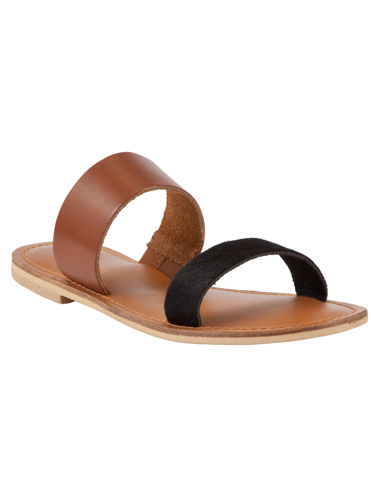4af97bf24e8ab Buy Collection WEEKEND by John Lewis Jersey Two Strap Leather Sandals, Tan  / Black, ...