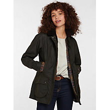 Buy Barbour Classic Beadnell Waxed Jacket, Olive Online at johnlewis.com