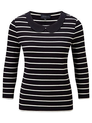 Buy Viyella Peter Pan Stripe Jersey Top, Ivory, L Online at johnlewis.com