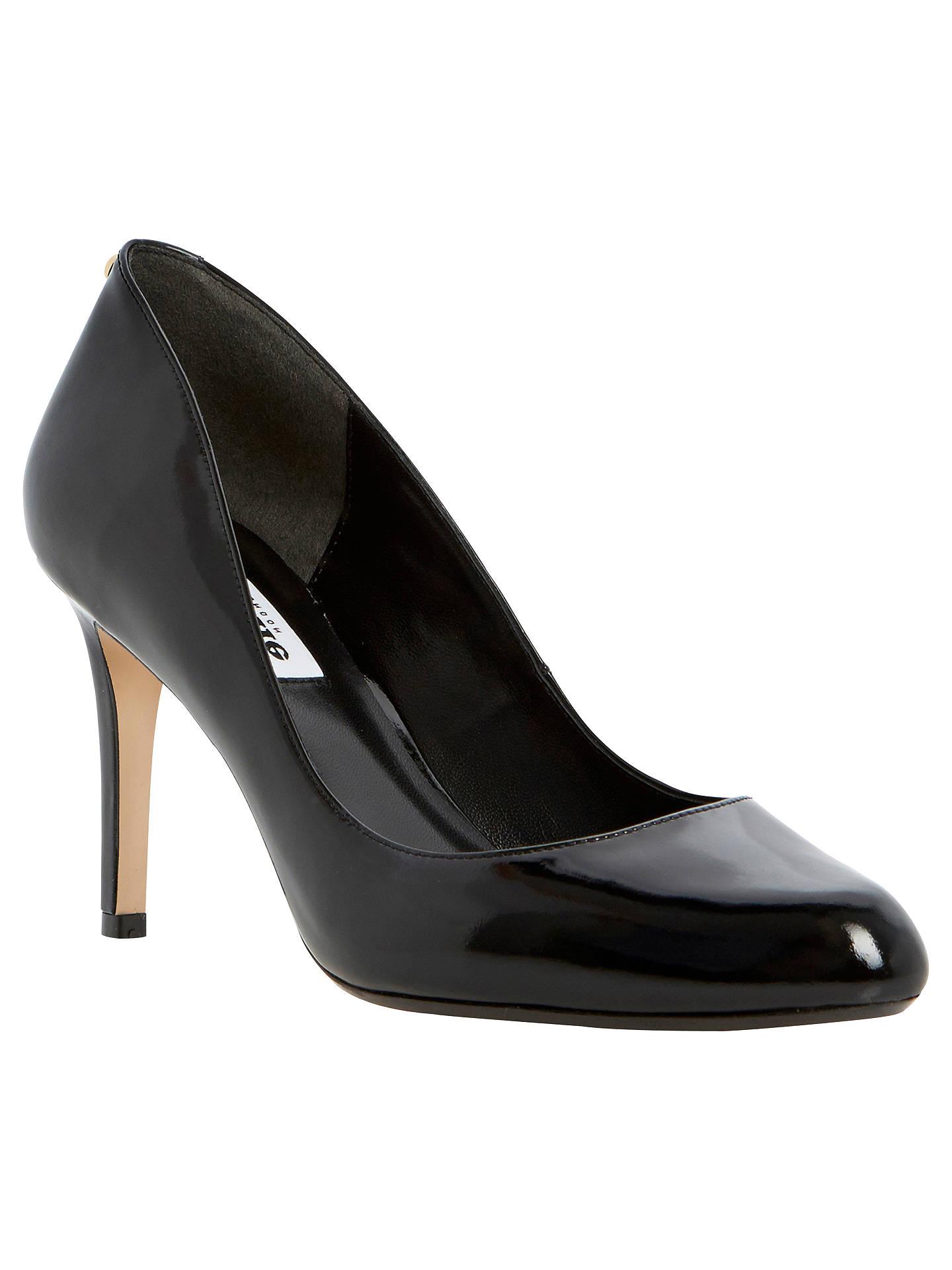 c218ac6f408 Buy Dune Allie Back Stud Detail Almond Toe Court Shoes, Patent Black, 3  Online ...