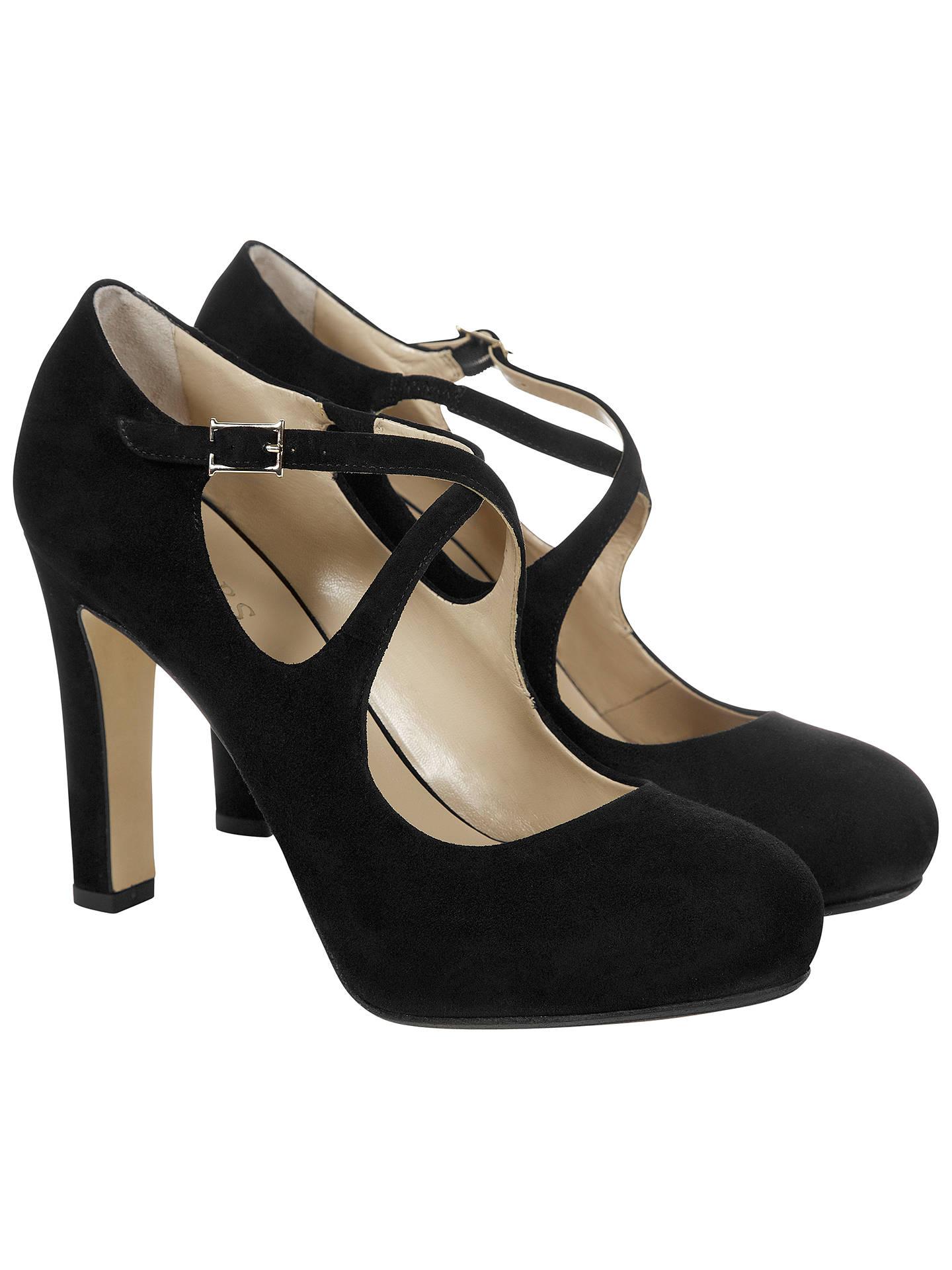 3653527ef0dde Hobbs Fae High Heel Cross Over Strap Court Shoes, Black Suede at ...