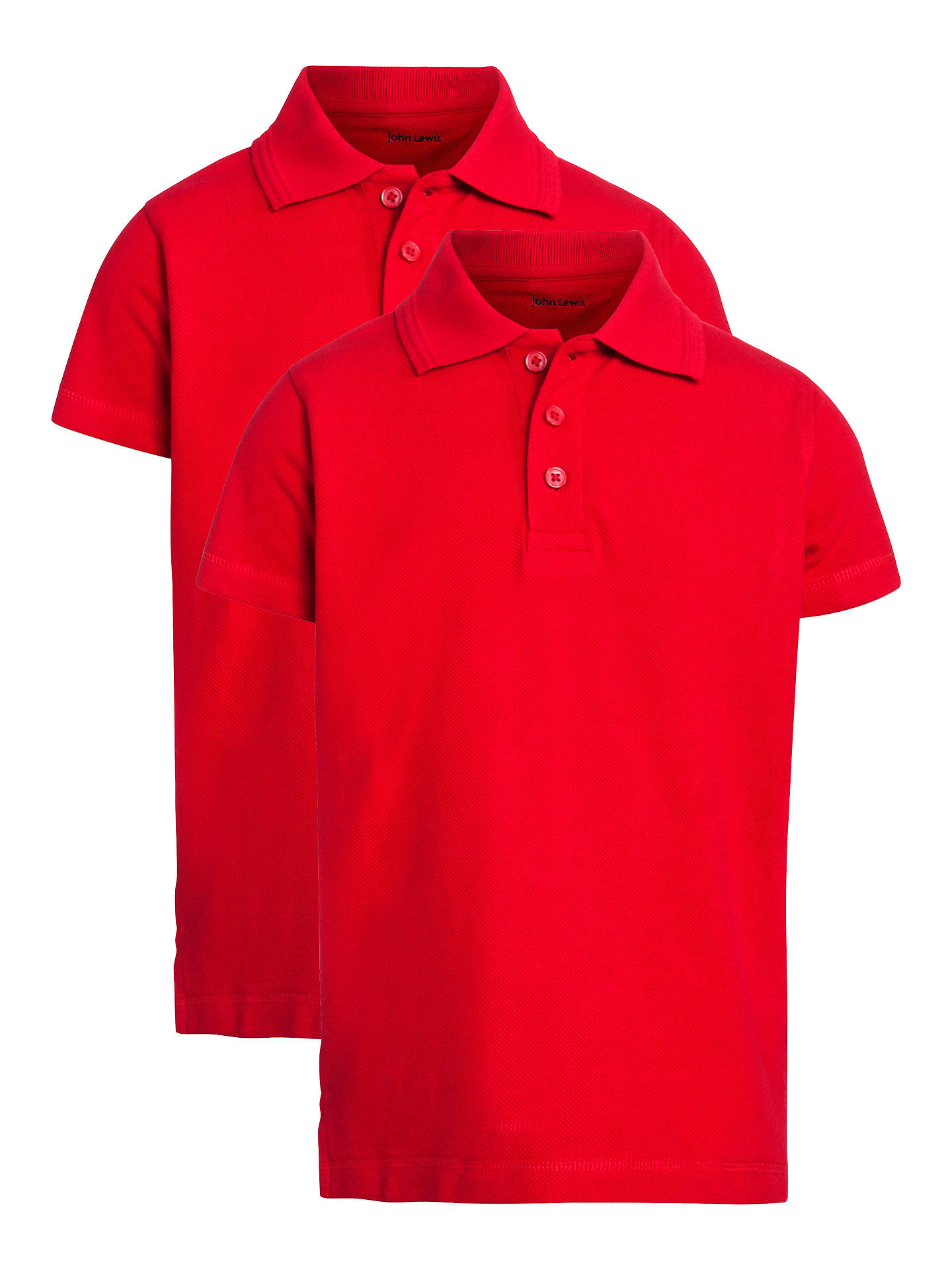 e5c5d634 John Lewis Unisex Polo Shirt, Pack of 2, Red at John Lewis & Partners