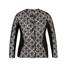 Buy Chesca Lace Trim Ottoman Jersey Jacket, Black/Ivory Online at johnlewis.com