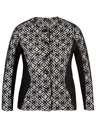 Chesca Lace Trim Ottoman Jersey Jacket, Black/Ivory