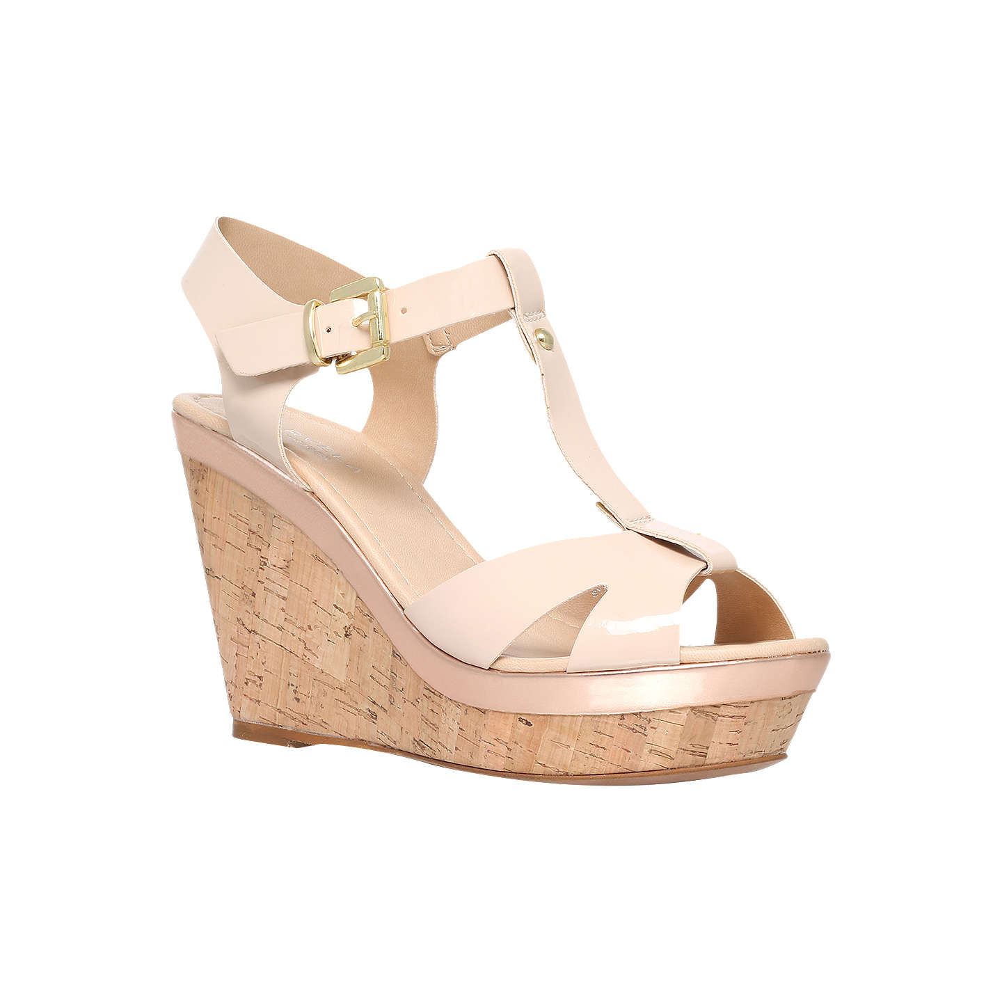 BuyCarvela Kabby Wedge Heel T-Bar Sandals, Nude, 3 Online at johnlewis.