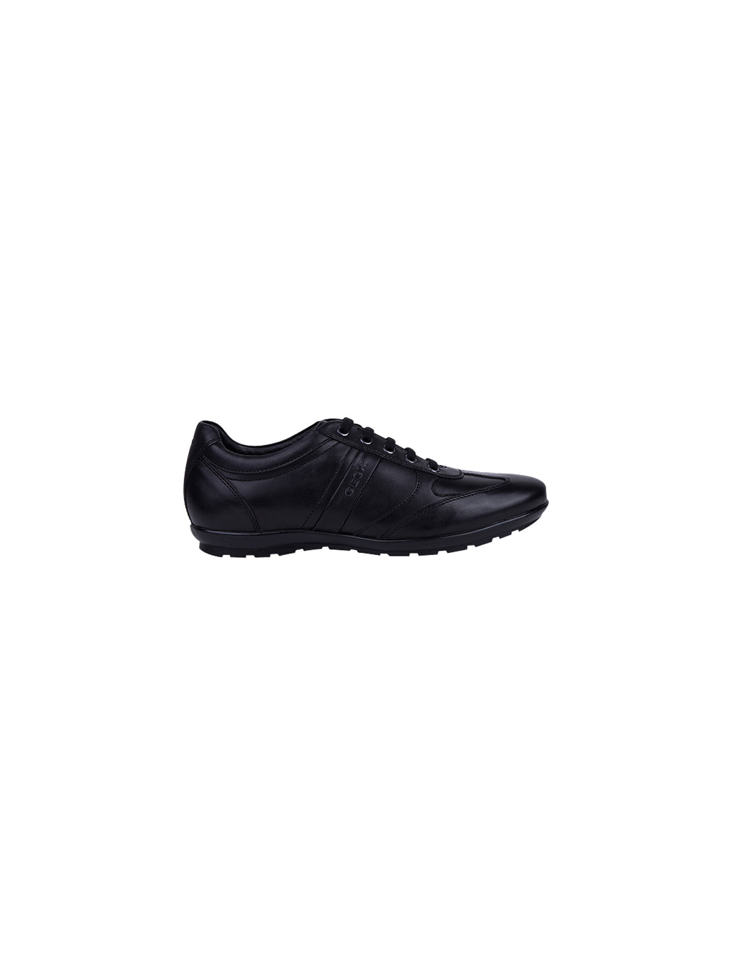 c079ccb9214 Buy Geox Symbol City Leather Trainers, Black, Black, 7 Online at johnlewis.
