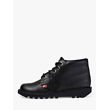 Buy Kickers Leather Lace-Up Hi Boots, Black Online at johnlewis.com