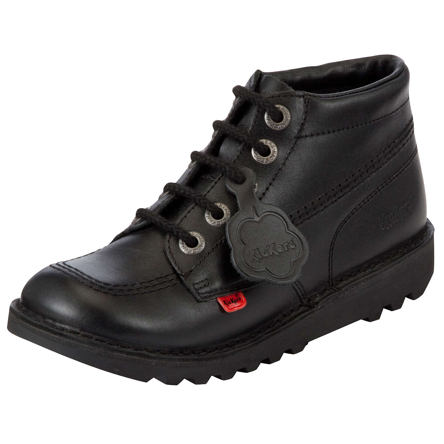 BuyKickers Leather Lace-Up Hi Boots, Black, 28 Online at johnlewis.com ...