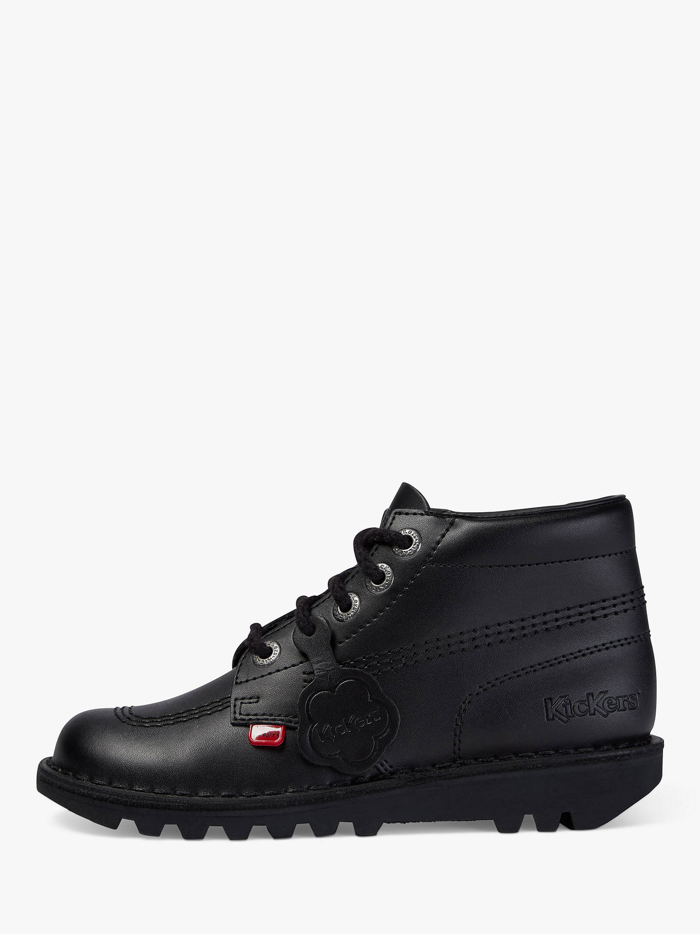 BuyKickers Leather Lace-Up Hi Boots, Black, 28 Online at johnlewis.com
