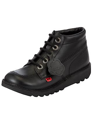 Kickers Children's Leather Lace-Up Hi Boots, Black