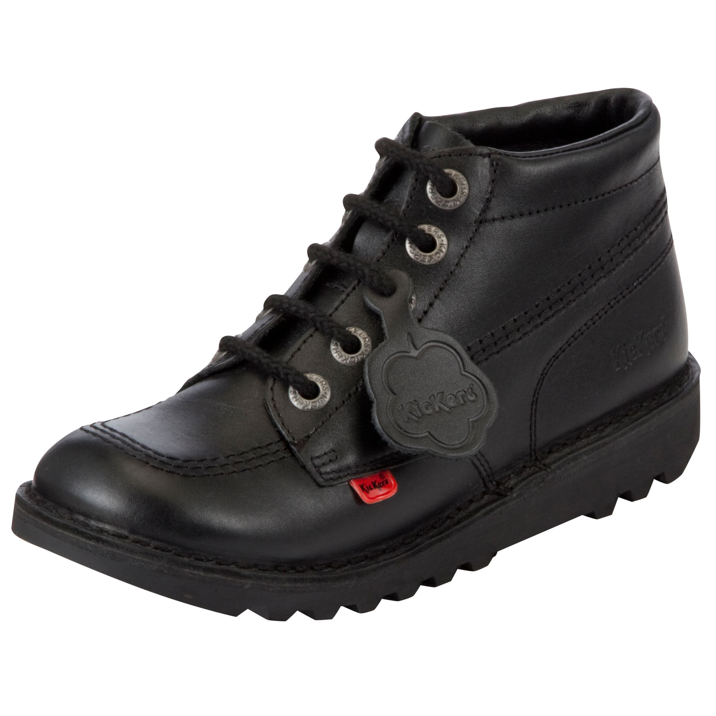Kickers Kickers Children's Leather Lace-Up Hi Boots, Black