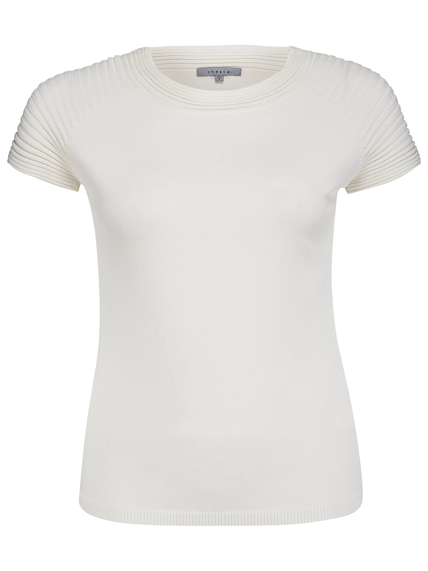 Buy Chesca Cap Sleeve Ribbed Trim Jumper, Ivory, 12-14 Online at johnlewis.com