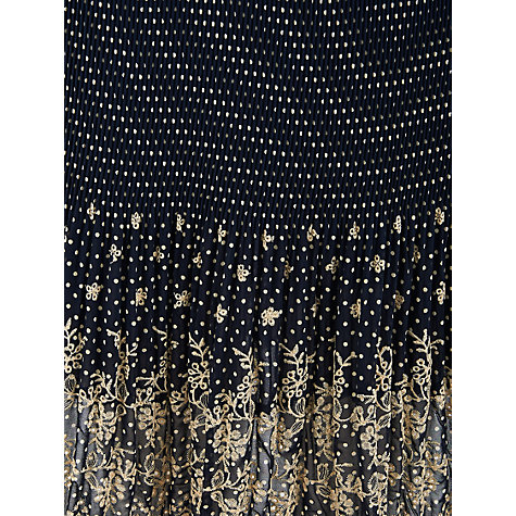 Buy Chesca Spot Print Borderie Anglaise Crush Pleat Skirt, Navy Online at johnlewis.com