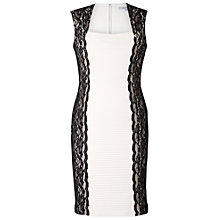Buy Chesca Lace Panel Pintuck Pleat Dress, White/Black Online at johnlewis.com