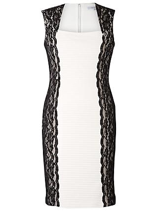 Chesca Lace Panel Pintuck Pleat Dress, White/Black