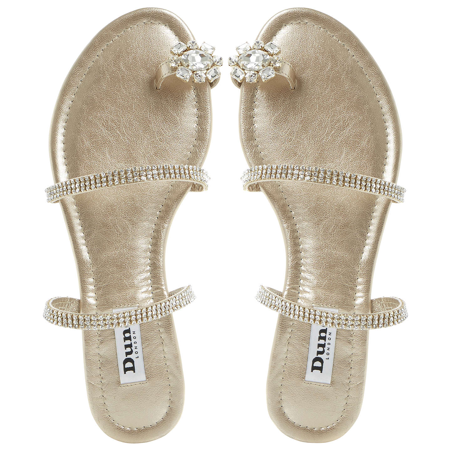 BuyDune Kate Diamante Sandals, Champagne, 3 Online at johnlewis.com