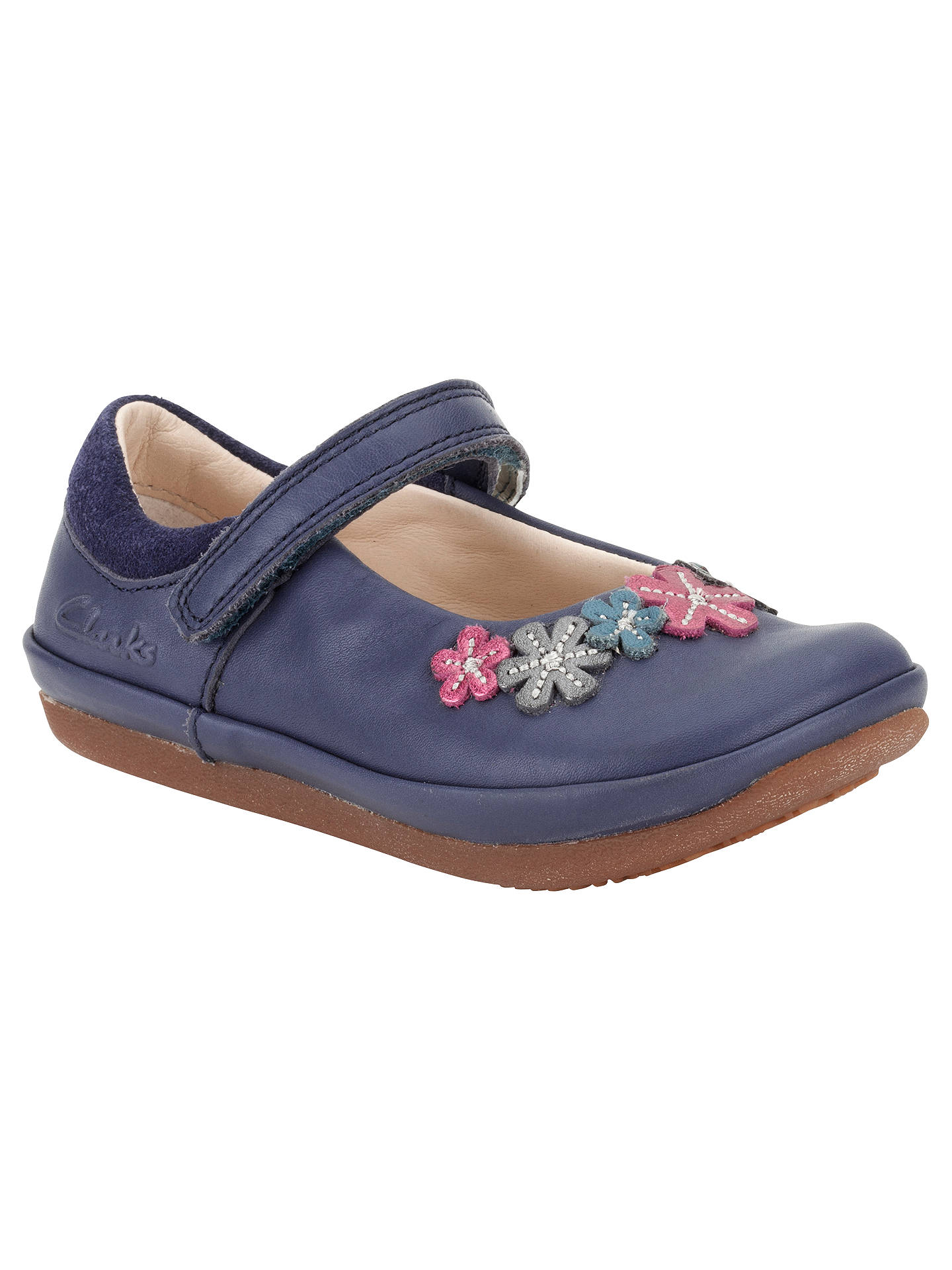 Clarks Children's Elza Lily Leather Shoes, Dark Blue at ...