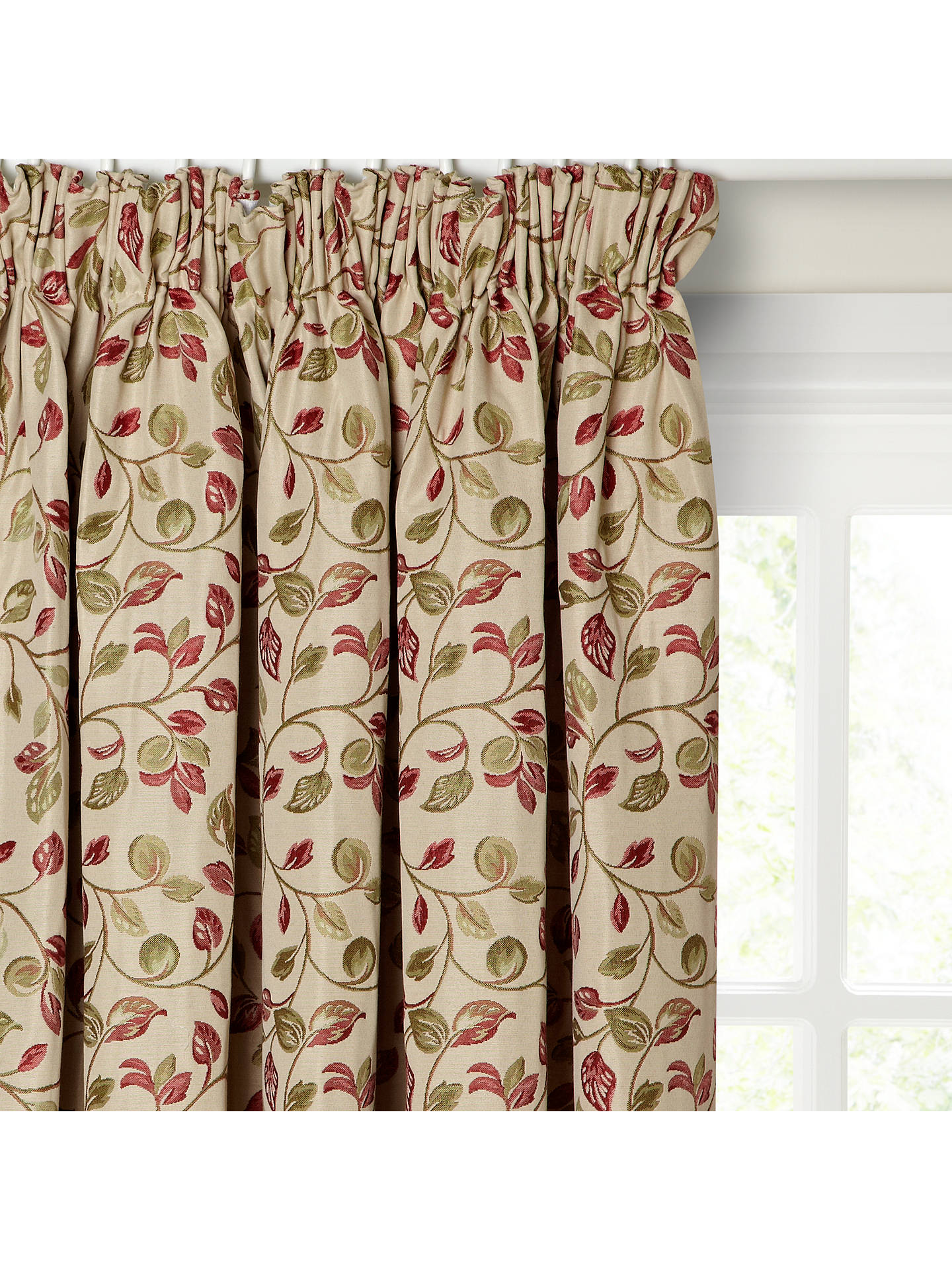 49d6dfbf7843 Buy John Lewis & Partners Sherwood Pair Lined Pencil Pleat Curtains, Red /  Green, ...