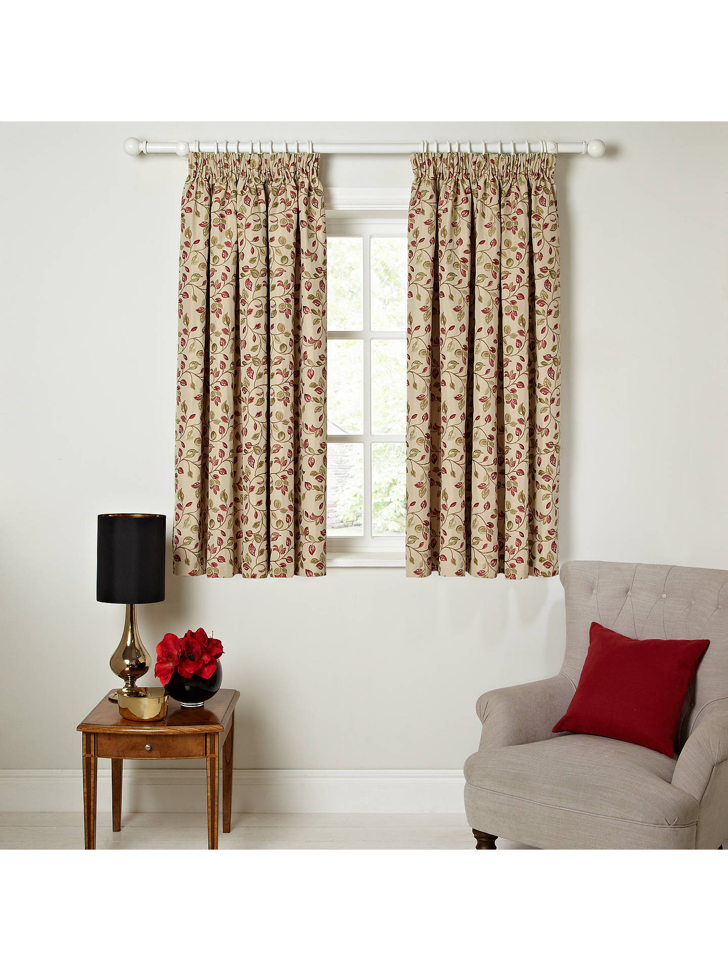 4711bdee157d ... Buy John Lewis & Partners Sherwood Pair Lined Pencil Pleat Curtains,  Red / Green, ...
