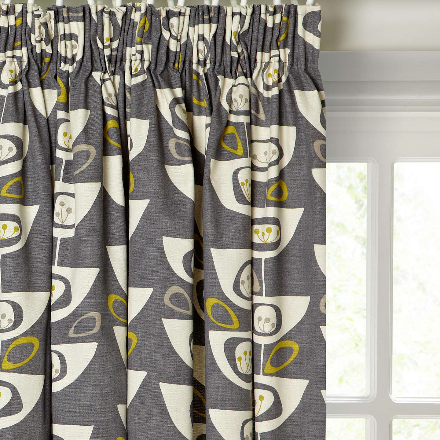 John Lewis Seedheads Pair Lined Pencil Pleat Curtains, Grey by John Lewis